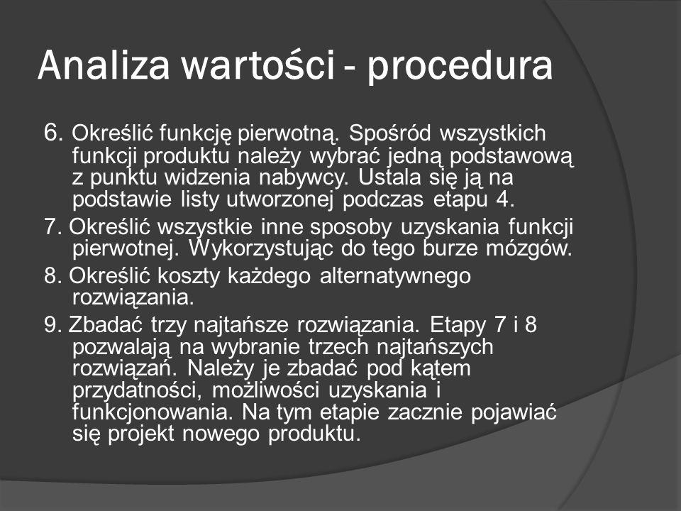 Analiza wartości - procedura 6. Określić funkcję pierwotną. Spośród wszystkich funkcji produktu należy wybrać jedną podstawową z punktu widzenia nabyw