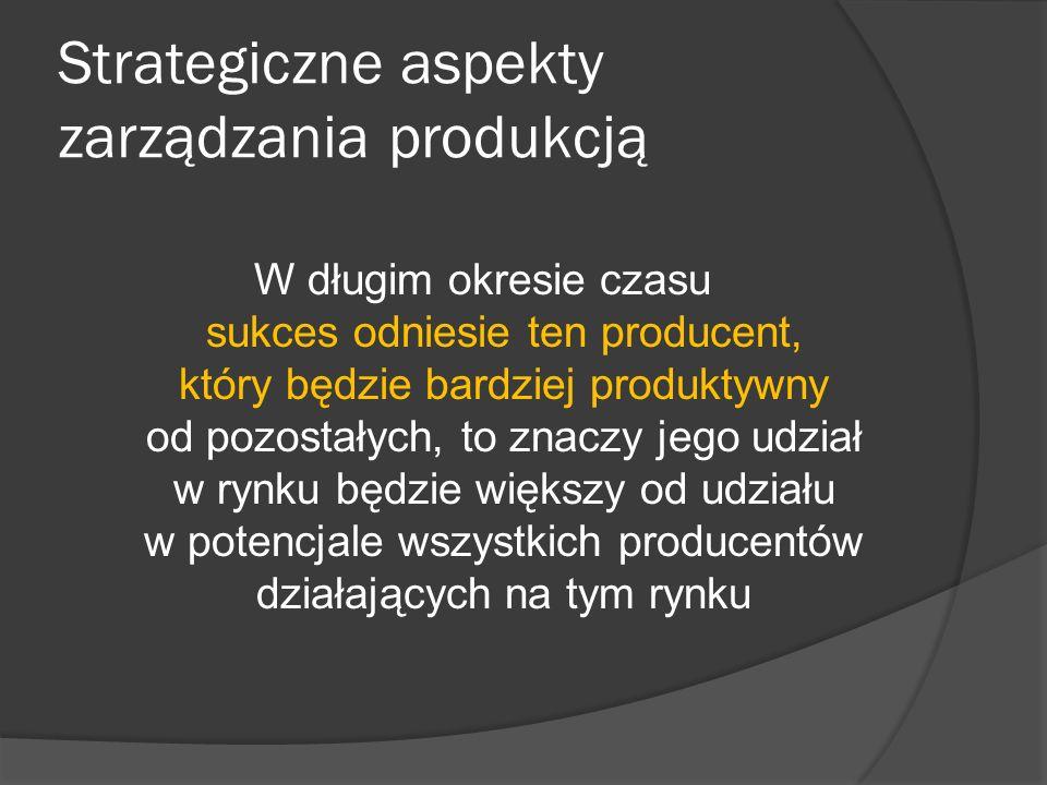 Strategiczne aspekty zarządzania produkcją W długim okresie czasu sukces odniesie ten producent, który będzie bardziej produktywny od pozostałych, to