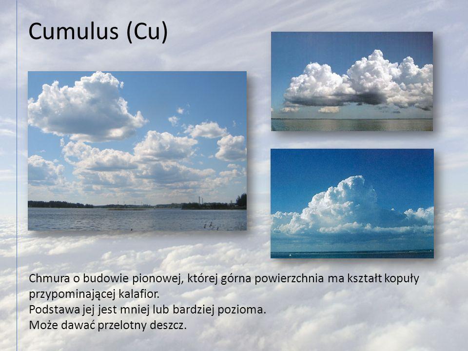 Cumulus (Cu) Chmura o budowie pionowej, której górna powierzchnia ma kształt kopuły przypominającej kalafior. Podstawa jej jest mniej lub bardziej poz