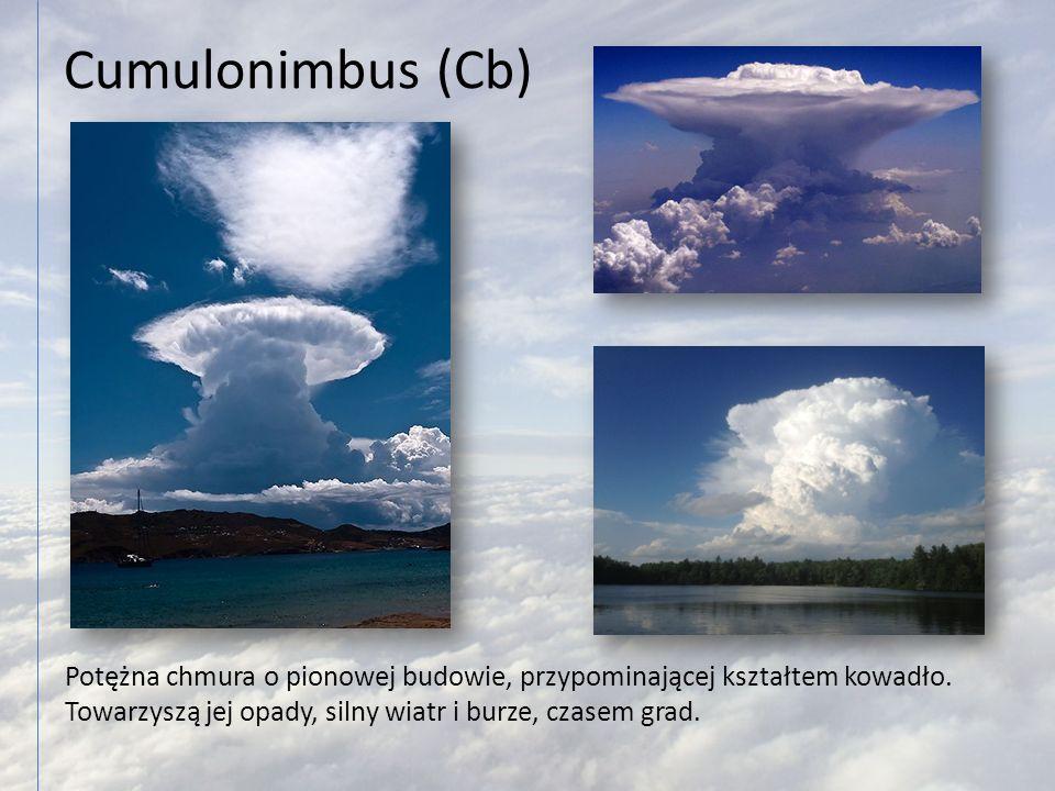 Cumulonimbus (Cb) Potężna chmura o pionowej budowie, przypominającej kształtem kowadło. Towarzyszą jej opady, silny wiatr i burze, czasem grad.