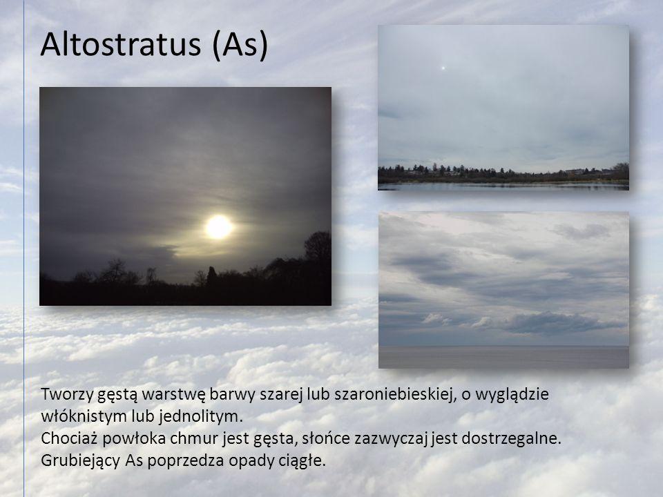 Altostratus (As) Tworzy gęstą warstwę barwy szarej lub szaroniebieskiej, o wyglądzie włóknistym lub jednolitym. Chociaż powłoka chmur jest gęsta, słoń