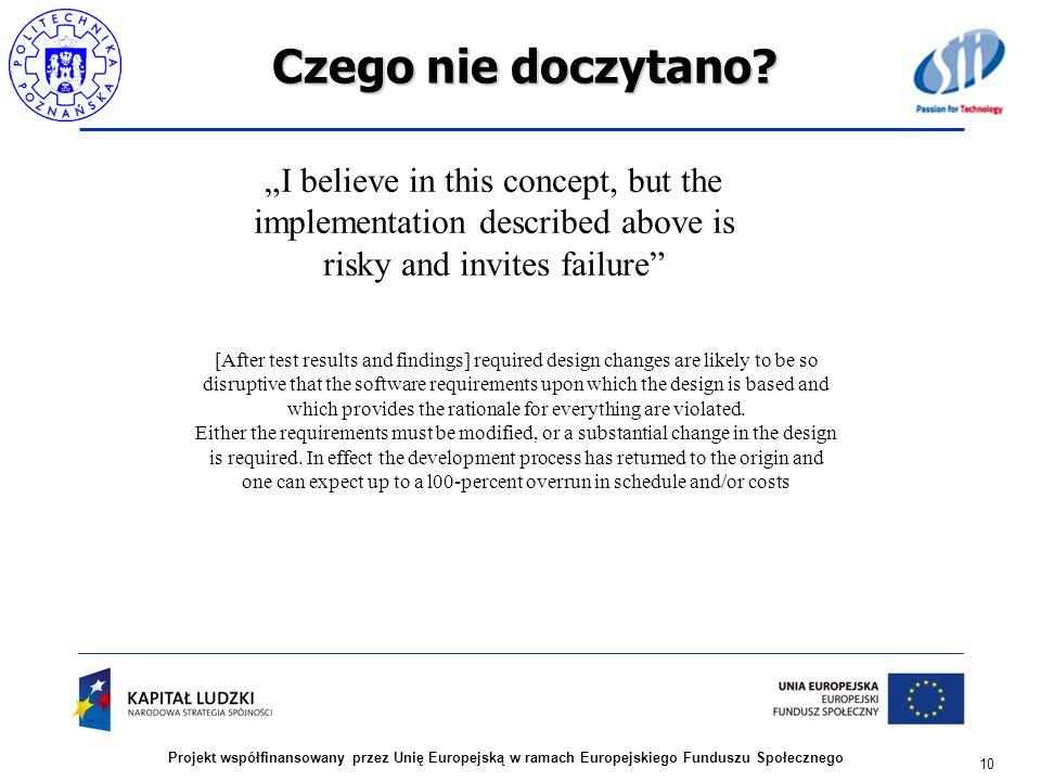 Czego nie doczytano? 10 Projekt współfinansowany przez Unię Europejską w ramach Europejskiego Funduszu Społecznego I believe in this concept, but the