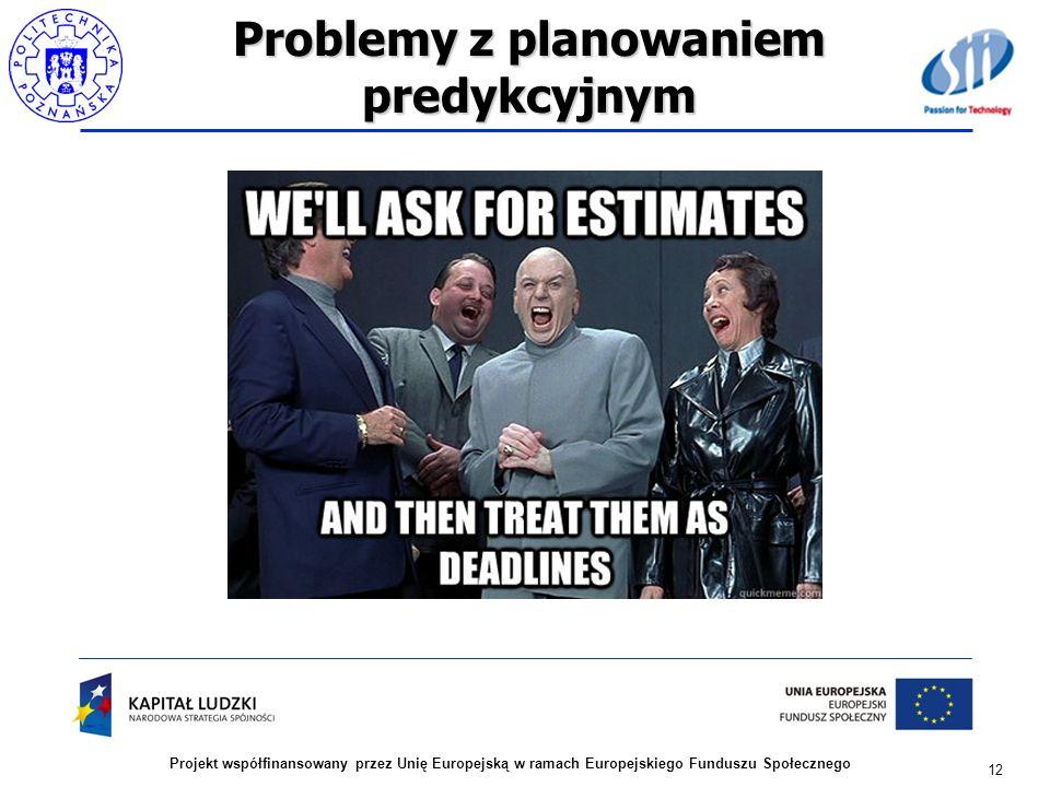 Problemy z planowaniem predykcyjnym 12 Projekt współfinansowany przez Unię Europejską w ramach Europejskiego Funduszu Społecznego