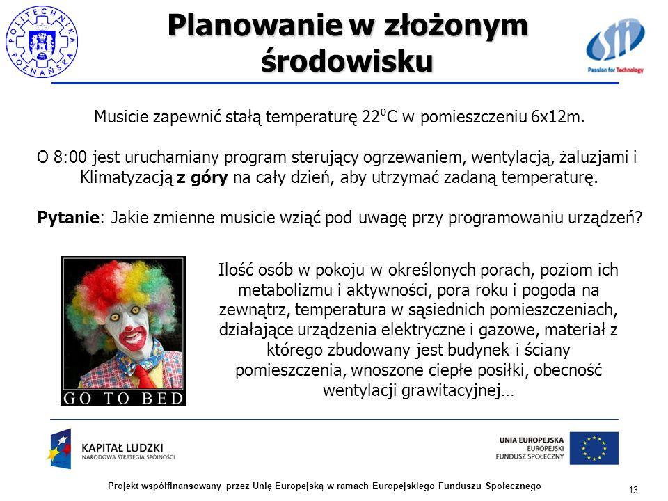 Planowanie w złożonym środowisku 13 Projekt współfinansowany przez Unię Europejską w ramach Europejskiego Funduszu Społecznego Musicie zapewnić stałą