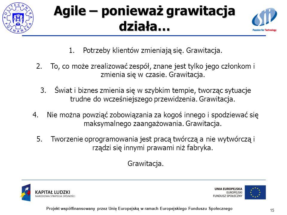 Agile – ponieważ grawitacja działa… 15 Projekt współfinansowany przez Unię Europejską w ramach Europejskiego Funduszu Społecznego 1.Potrzeby klientów