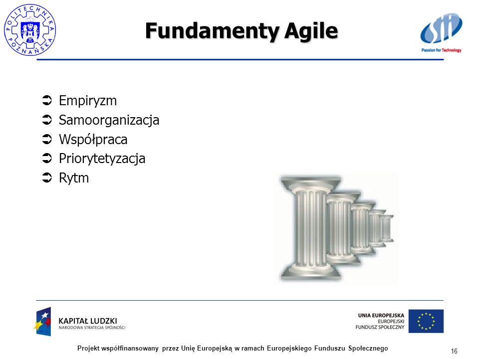 Fundamenty Agile Empiryzm Samoorganizacja Współpraca Priorytetyzacja Rytm 16 Projekt współfinansowany przez Unię Europejską w ramach Europejskiego Fun