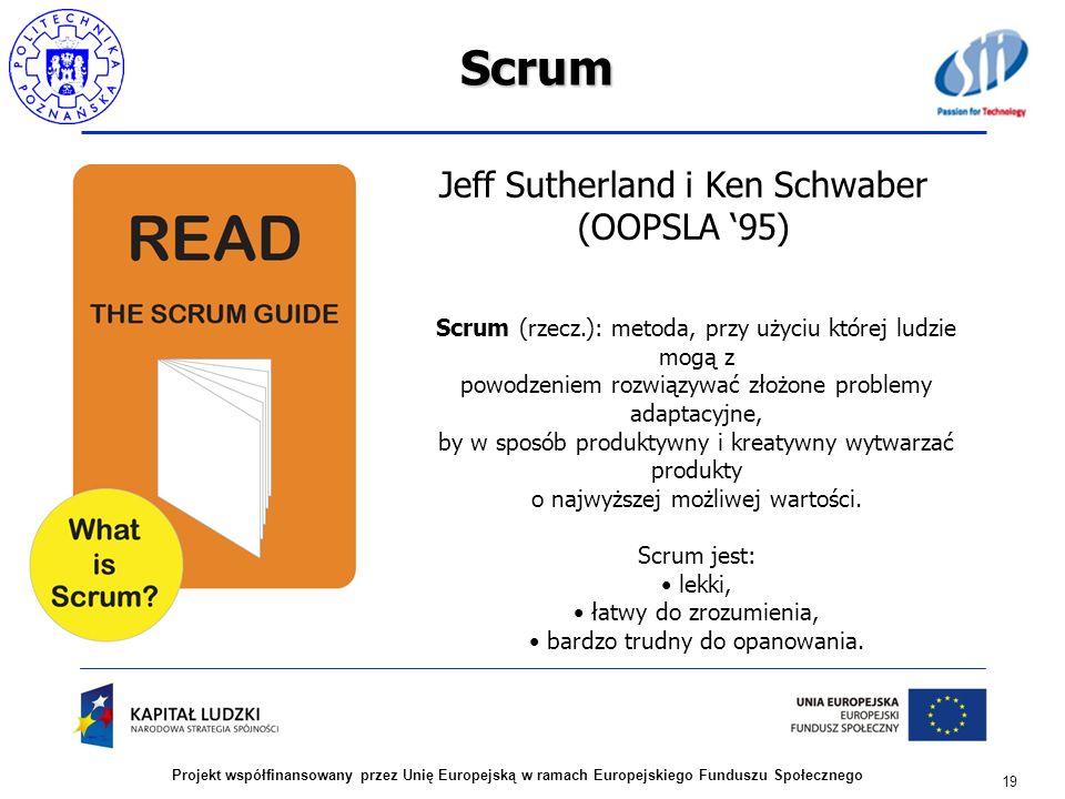 Scrum 19 Projekt współfinansowany przez Unię Europejską w ramach Europejskiego Funduszu Społecznego Scrum (rzecz.): metoda, przy użyciu której ludzie