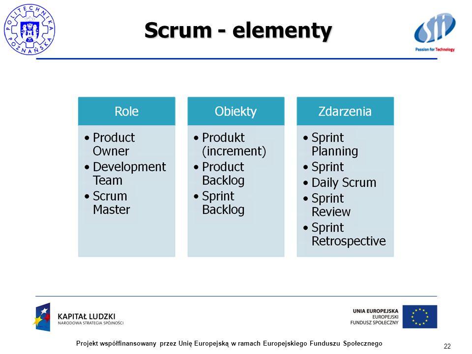 Scrum - elementy 22 Projekt współfinansowany przez Unię Europejską w ramach Europejskiego Funduszu Społecznego