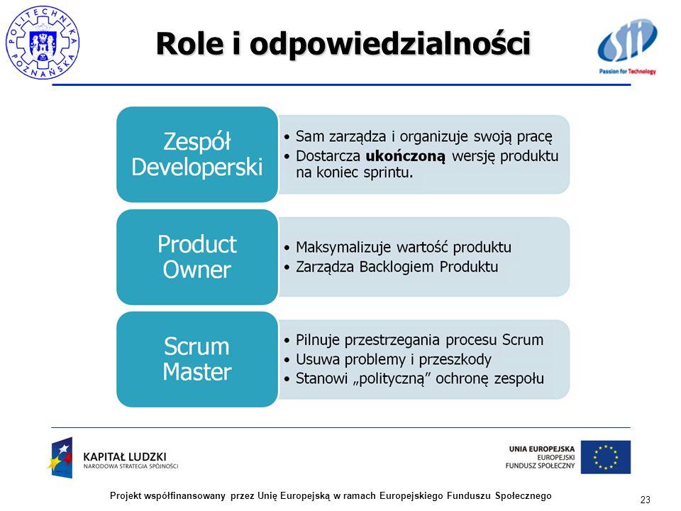 Role i odpowiedzialności 23 Projekt współfinansowany przez Unię Europejską w ramach Europejskiego Funduszu Społecznego