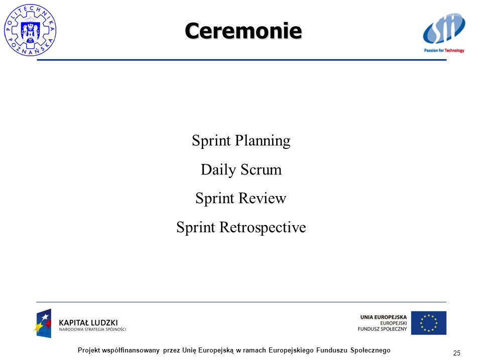 Ceremonie 25 Projekt współfinansowany przez Unię Europejską w ramach Europejskiego Funduszu Społecznego Sprint Planning Daily Scrum Sprint Review Spri