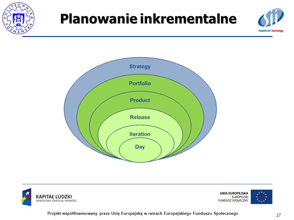 Planowanie inkrementalne 27 Projekt współfinansowany przez Unię Europejską w ramach Europejskiego Funduszu Społecznego