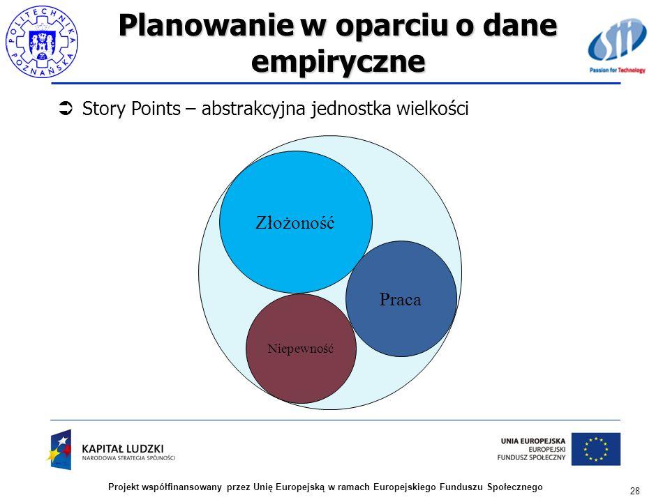 Planowanie w oparciu o dane empiryczne Story Points – abstrakcyjna jednostka wielkości 28 Projekt współfinansowany przez Unię Europejską w ramach Euro