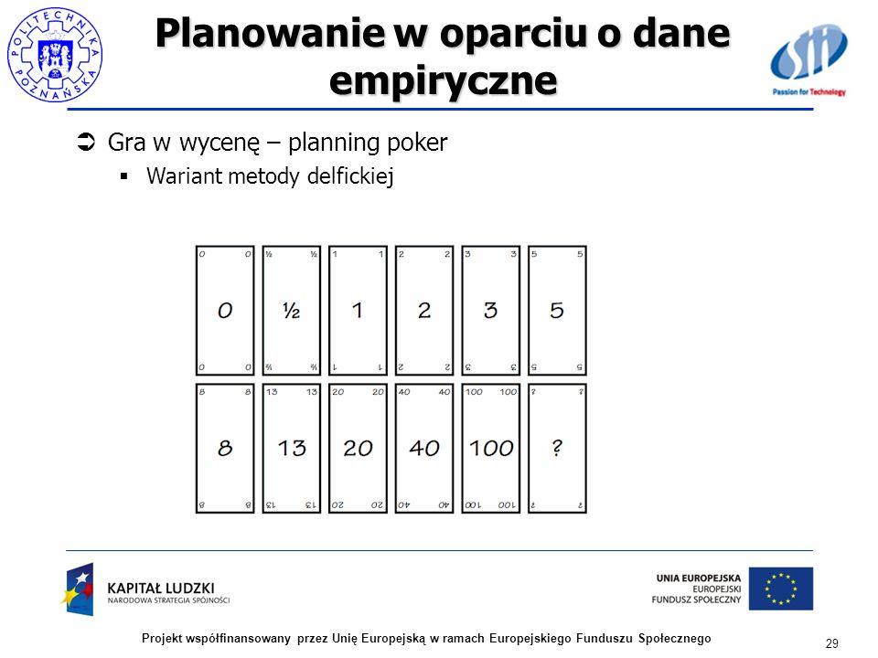 Planowanie w oparciu o dane empiryczne Gra w wycenę – planning poker Wariant metody delfickiej 29 Projekt współfinansowany przez Unię Europejską w ram