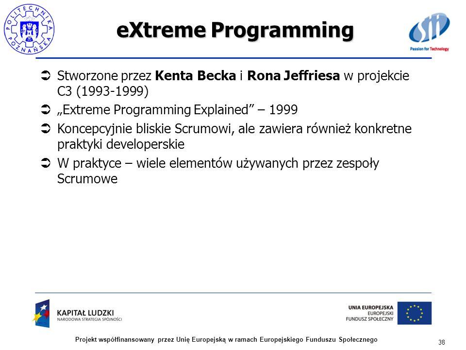 eXtreme Programming Stworzone przez Kenta Becka i Rona Jeffriesa w projekcie C3 (1993-1999) Extreme Programming Explained – 1999 Koncepcyjnie bliskie
