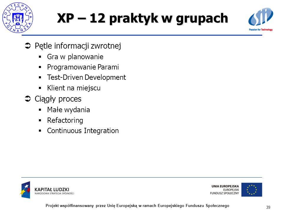 XP – 12 praktyk w grupach Pętle informacji zwrotnej Gra w planowanie Programowanie Parami Test-Driven Development Klient na miejscu Ciągły proces Małe
