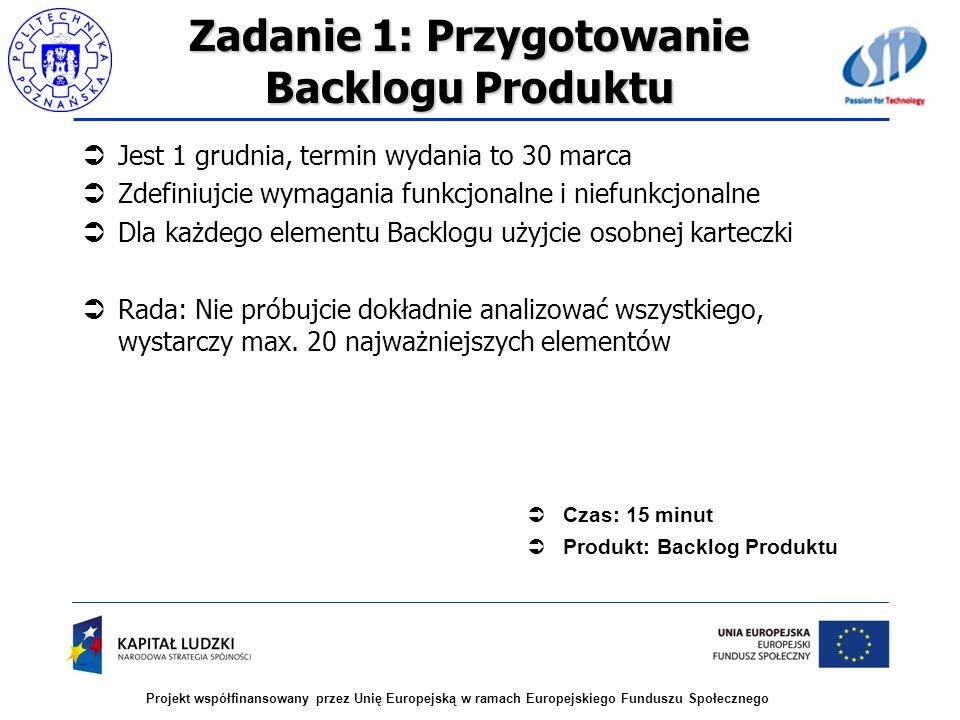 Projekt współfinansowany przez Unię Europejską w ramach Europejskiego Funduszu Społecznego Zadanie 1: Przygotowanie Backlogu Produktu Jest 1 grudnia,