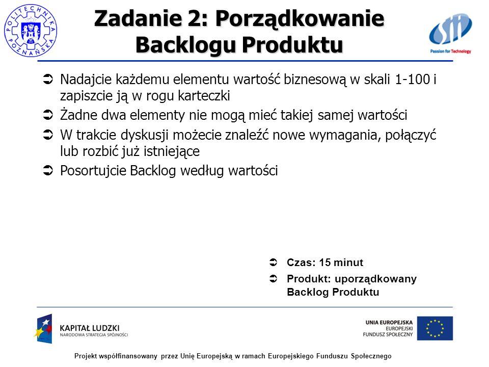Projekt współfinansowany przez Unię Europejską w ramach Europejskiego Funduszu Społecznego Zadanie 2: Porządkowanie Backlogu Produktu Nadajcie każdemu