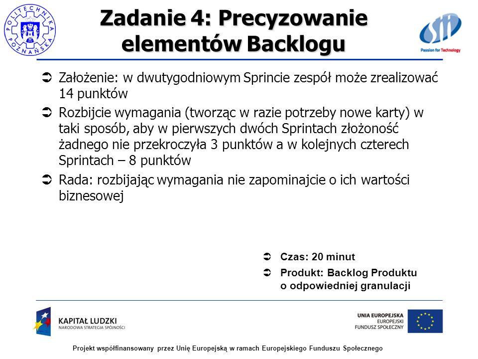 Projekt współfinansowany przez Unię Europejską w ramach Europejskiego Funduszu Społecznego Zadanie 4: Precyzowanie elementów Backlogu Założenie: w dwu