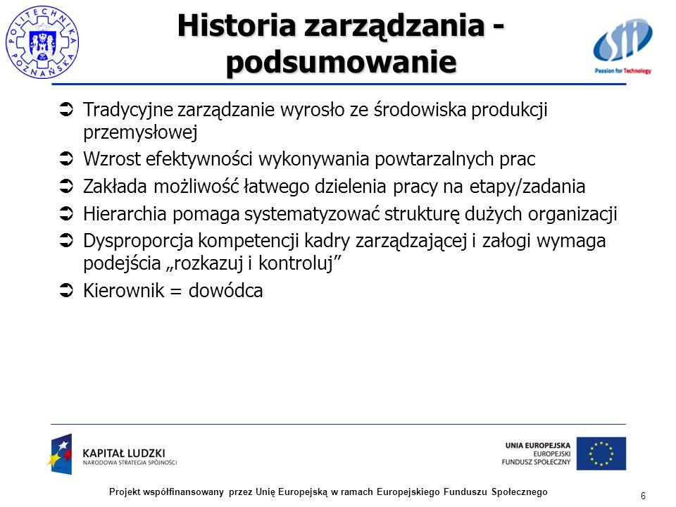 Historia zarządzania - podsumowanie Tradycyjne zarządzanie wyrosło ze środowiska produkcji przemysłowej Wzrost efektywności wykonywania powtarzalnych