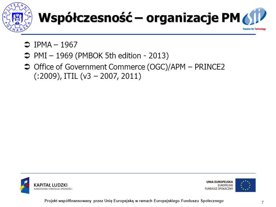 Współczesność – organizacje PM IPMA – 1967 PMI – 1969 (PMBOK 5th edition - 2013) Office of Government Commerce (OGC)/APM – PRINCE2 (:2009), ITIL (v3 –