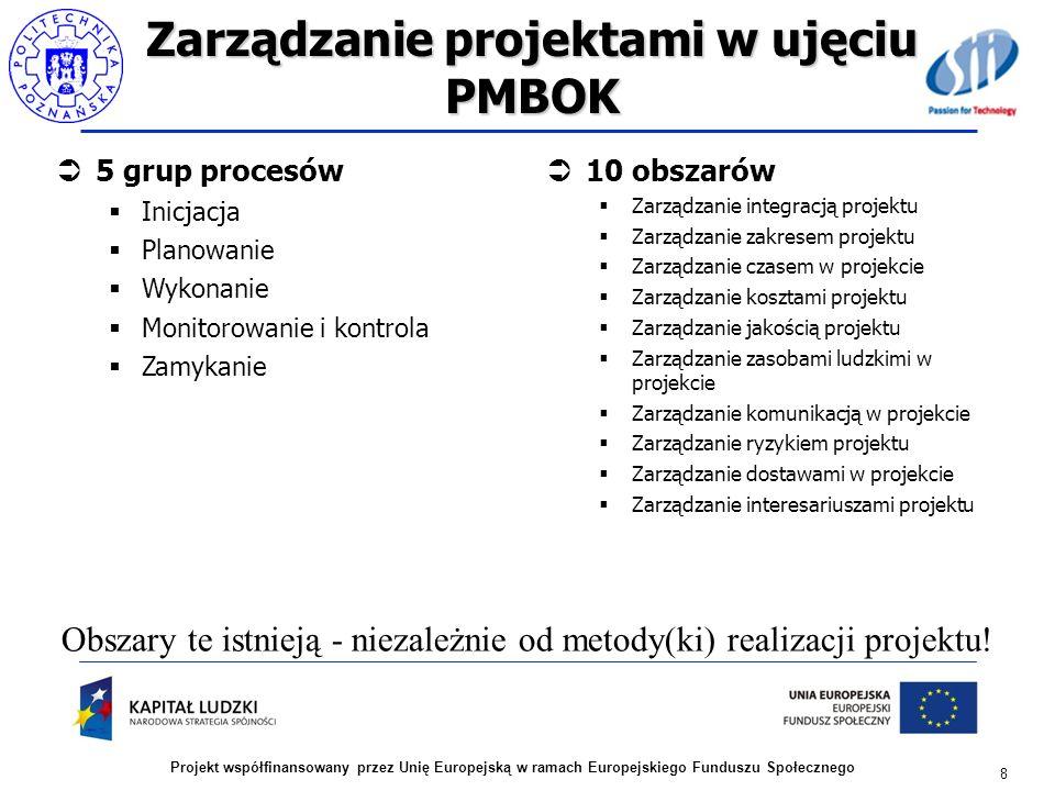 Zarządzanie projektami w ujęciu PMBOK 5 grup procesów Inicjacja Planowanie Wykonanie Monitorowanie i kontrola Zamykanie 8 Projekt współfinansowany prz