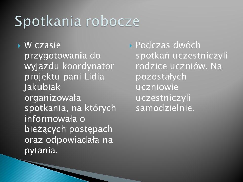 W czasie przygotowania do wyjazdu koordynator projektu pani Lidia Jakubiak organizowała spotkania, na których informowała o bieżących postępach oraz o