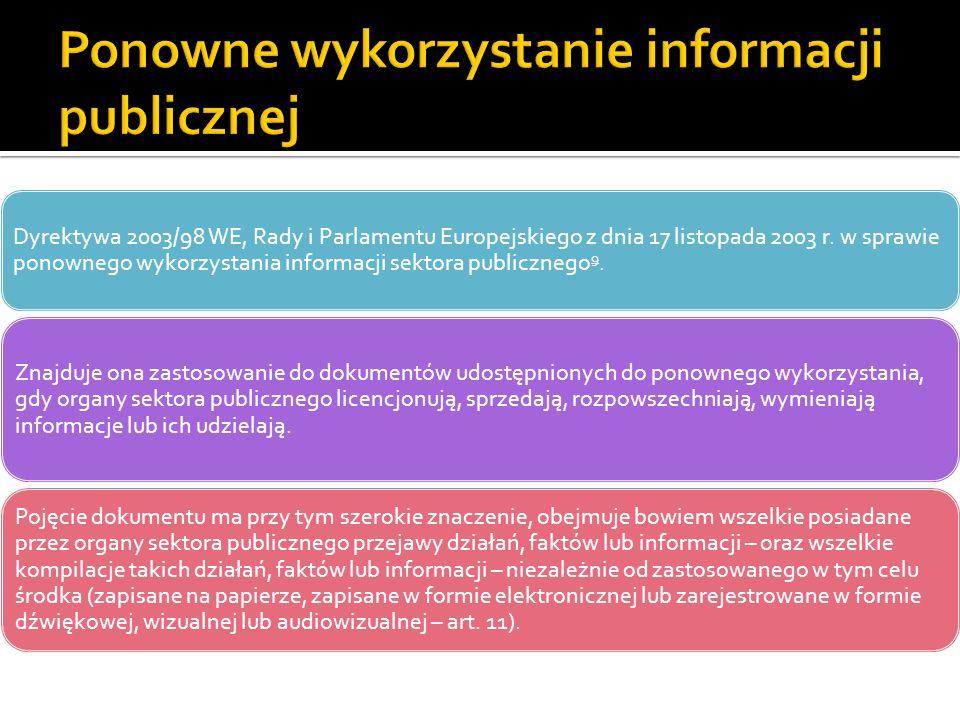 Dyrektywa 2003/98 WE, Rady i Parlamentu Europejskiego z dnia 17 listopada 2003 r. w sprawie ponownego wykorzystania informacji sektora publicznego 9.