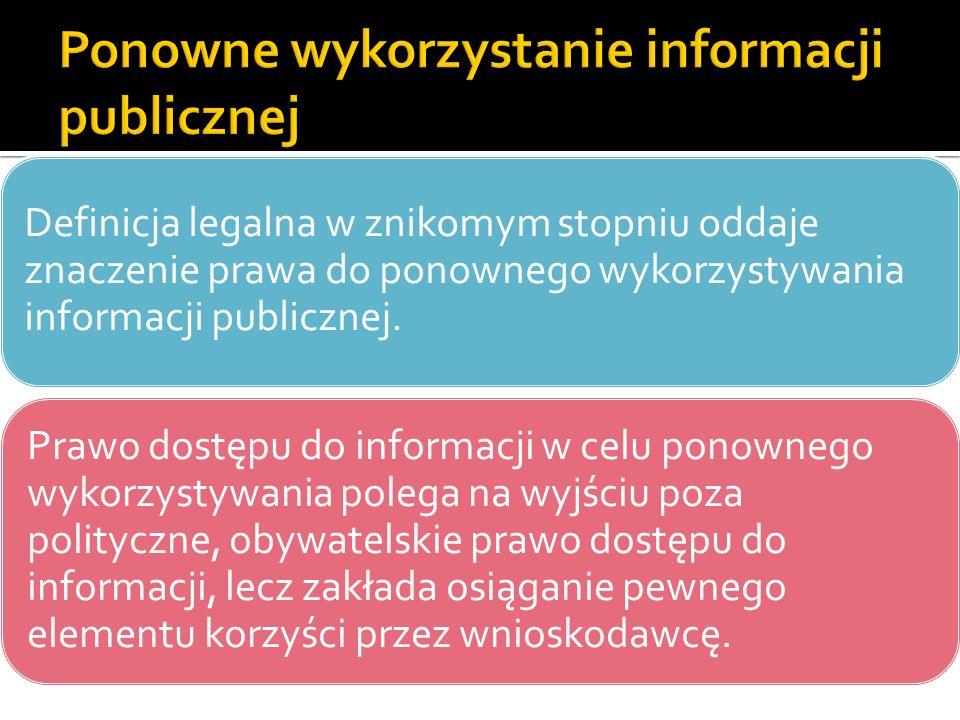 Definicja legalna w znikomym stopniu oddaje znaczenie prawa do ponownego wykorzystywania informacji publicznej. Prawo dostępu do informacji w celu pon
