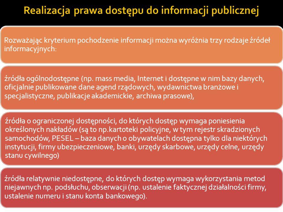 Rozważając kryterium pochodzenie informacji można wyróżnia trzy rodzaje źródeł informacyjnych: źródła ogólnodostępne (np. mass media, Internet i dostę