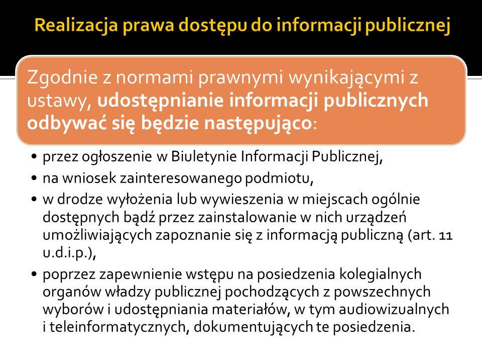 Zgodnie z normami prawnymi wynikającymi z ustawy, udostępnianie informacji publicznych odbywać się będzie następująco: przez ogłoszenie w Biuletynie I