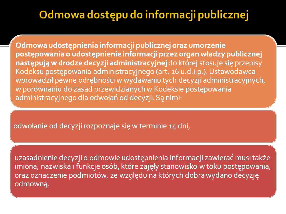 Odmowa udostępnienia informacji publicznej oraz umorzenie postępowania o udostępnienie informacji przez organ władzy publicznej następują w drodze dec