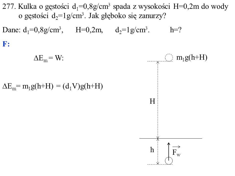 277.Kulka o gęstości d 1 =0,8g/cm 3 spada z wysokości H=0,2m do wody o gęstości d 2 =1g/cm 3.