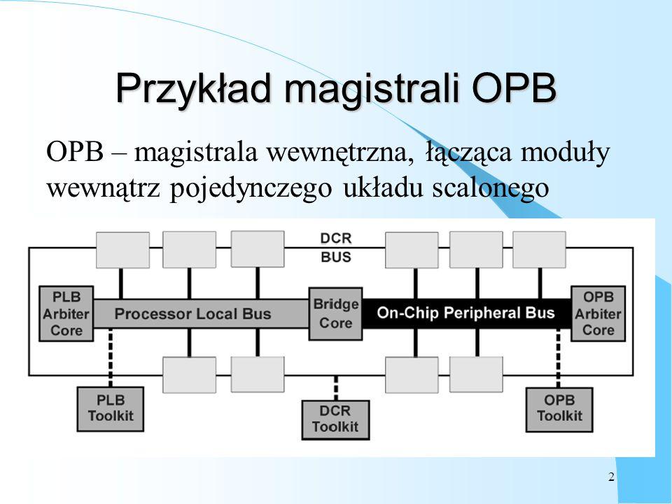 2 Przykład magistrali OPB OPB – magistrala wewnętrzna, łącząca moduły wewnątrz pojedynczego układu scalonego