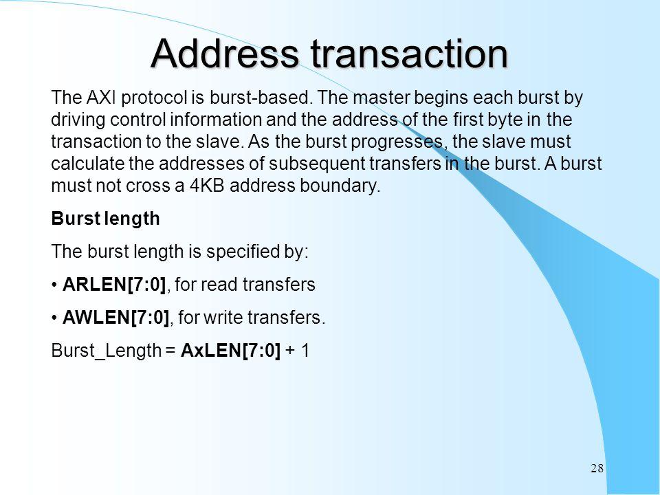 28 Address transaction The AXI protocol is burst-based.