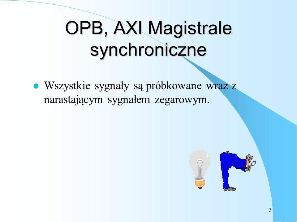3 OPB, AXI Magistrale synchroniczne l Wszystkie sygnały są próbkowane wraz z narastającym sygnałem zegarowym.