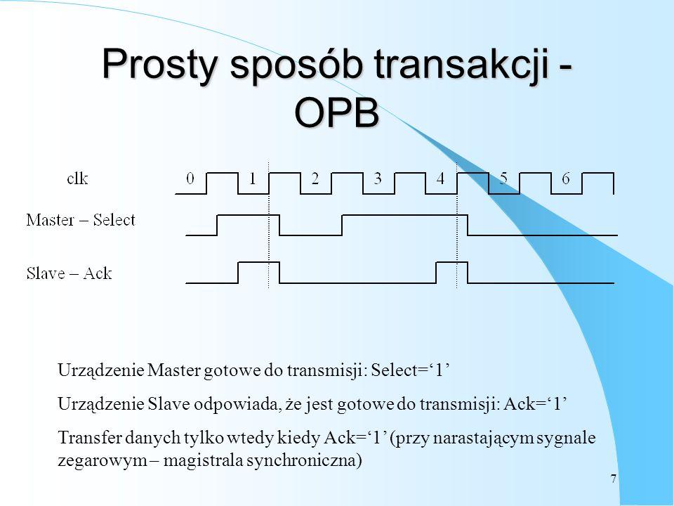 7 Prosty sposób transakcji - OPB Urządzenie Master gotowe do transmisji: Select=1 Urządzenie Slave odpowiada, że jest gotowe do transmisji: Ack=1 Transfer danych tylko wtedy kiedy Ack=1 (przy narastającym sygnale zegarowym – magistrala synchroniczna)