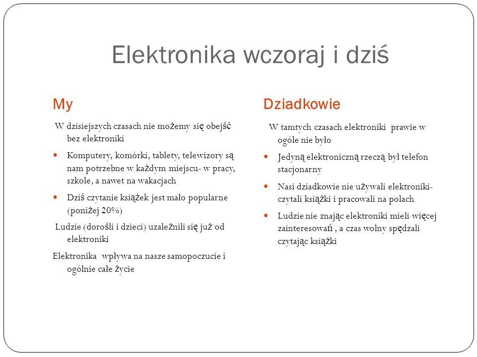 Elektronika wczoraj i dziś MyDziadkowie W dzisiejszych czasach nie mo ż emy si ę obej ść bez elektroniki Komputery, komórki, tablety, telewizory s ą n