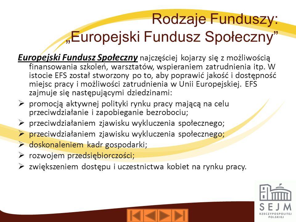 Rodzaje Funduszy: Europejski Fundusz Społeczny Europejski Fundusz Społeczny najczęściej kojarzy się z możliwością finansowania szkoleń, warsztatów, wspieraniem zatrudnienia itp.
