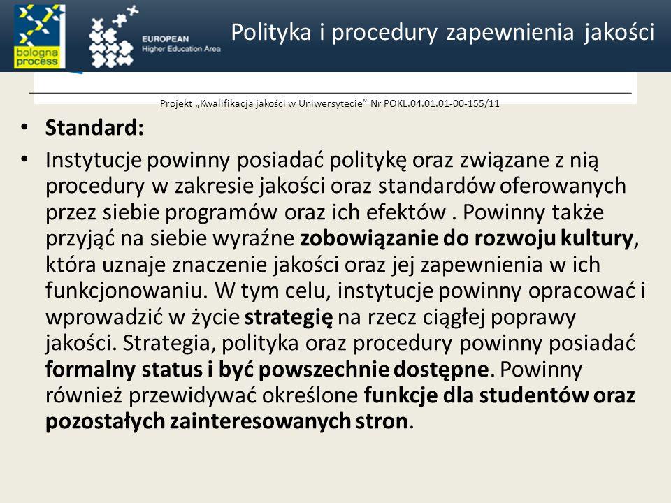 Projekt Kwalifikacja jakości w Uniwersytecie Nr POKL.04.01.01-00-155/11 Standard: Instytucje powinny posiadać politykę oraz związane z nią procedury w zakresie jakości oraz standardów oferowanych przez siebie programów oraz ich efektów.