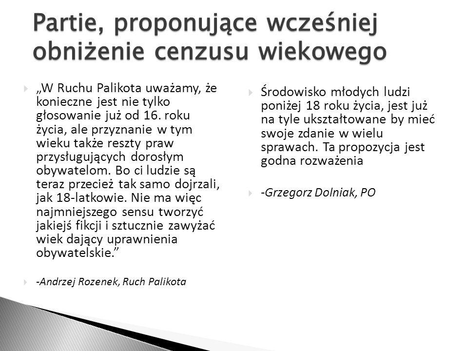 W Ruchu Palikota uważamy, że konieczne jest nie tylko głosowanie już od 16. roku życia, ale przyznanie w tym wieku także reszty praw przysługujących d