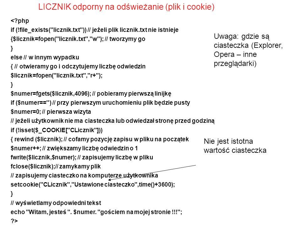 LICZNIK odporny na odświeżanie (plik i cookie) <?php if (!file_exists(