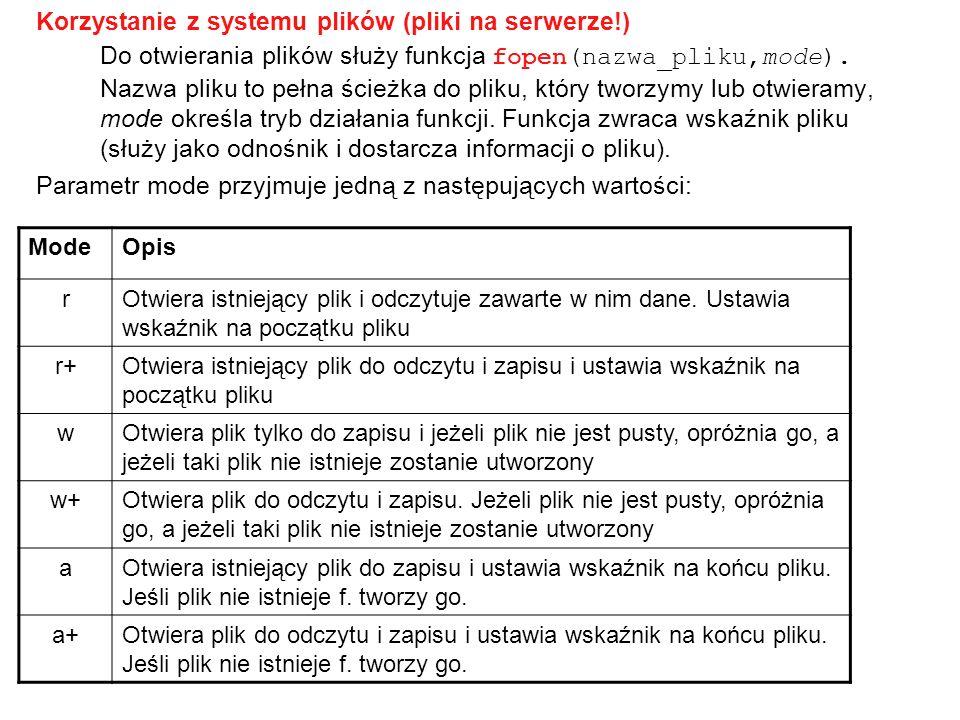 Korzystanie z systemu plików (pliki na serwerze!) Do otwierania plików służy funkcja fopen(nazwa_pliku,mode). Nazwa pliku to pełna ścieżka do pliku, k