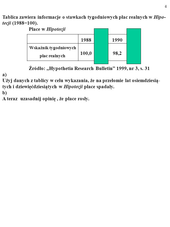 3 ZADANIE Tablica zawiera informacje o stawkach tygodniowych płac realnych w Hipo- tecji (1988=100). Płace w Hipotecji Źródło: Hypothetia Research Bul