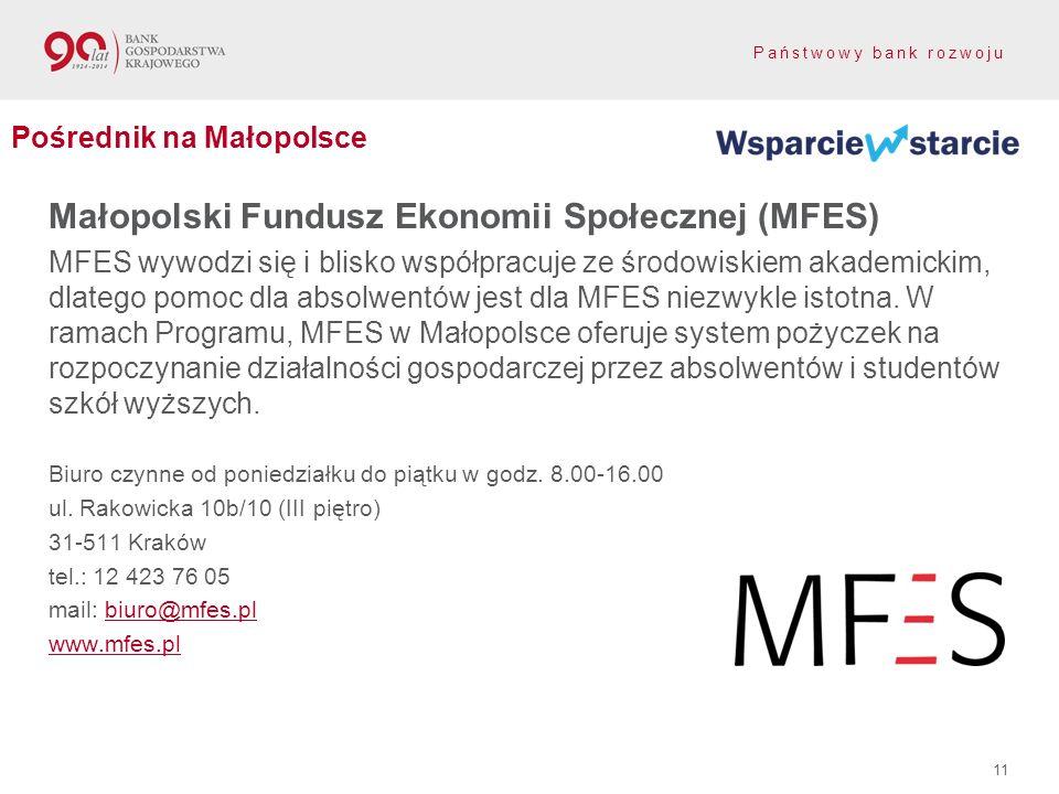Państwowy bank rozwoju Małopolski Fundusz Ekonomii Społecznej (MFES) MFES wywodzi się i blisko współpracuje ze środowiskiem akademickim, dlatego pomoc