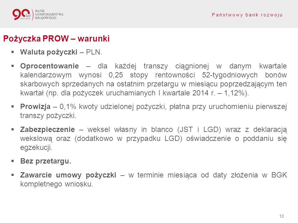 Państwowy bank rozwoju 13 Pożyczka PROW – warunki Waluta pożyczki – PLN. Oprocentowanie – dla każdej transzy ciągnionej w danym kwartale kalendarzowym