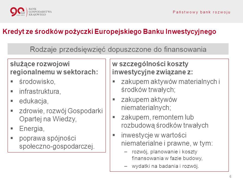 Państwowy bank rozwoju 6 Kredyt ze środków pożyczki Europejskiego Banku Inwestycyjnego Rodzaje przedsięwzięć dopuszczone do finansowania służące rozwo