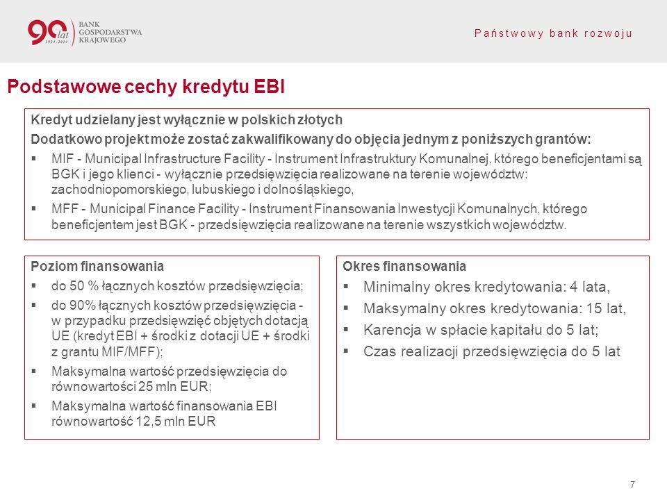 Państwowy bank rozwoju 7 Podstawowe cechy kredytu EBI Poziom finansowania do 50 % łącznych kosztów przedsięwzięcia; do 90% łącznych kosztów przedsięwz
