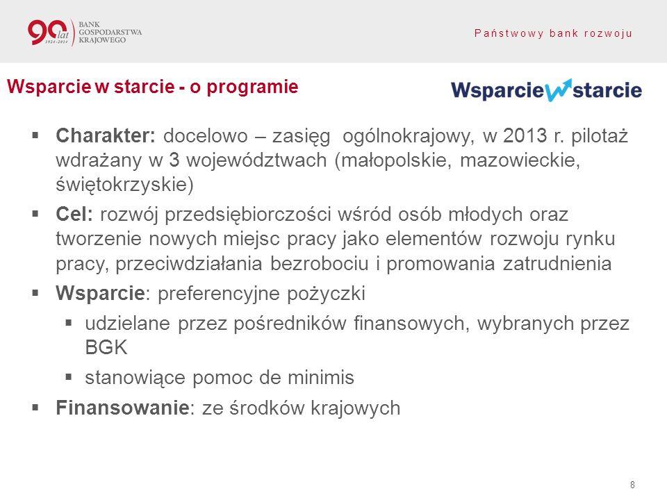 Państwowy bank rozwoju Charakter: docelowo – zasięg ogólnokrajowy, w 2013 r. pilotaż wdrażany w 3 województwach (małopolskie, mazowieckie, świętokrzys