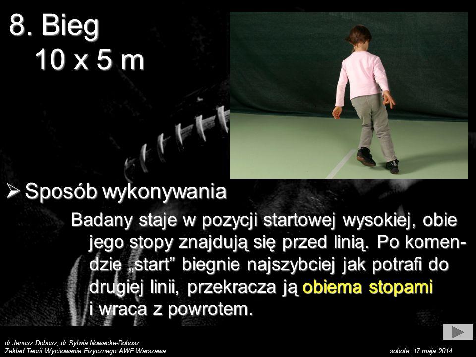 dr Janusz Dobosz, dr Sylwia Nowacka-Dobosz Zakład Teorii Wychowania Fizycznego AWF Warszawa sobota, 17 maja 2014 Sposób wykonywania Sposób wykonywania Badany staje w pozycji startowej wysokiej, obie jego stopy znajdują się przed linią.