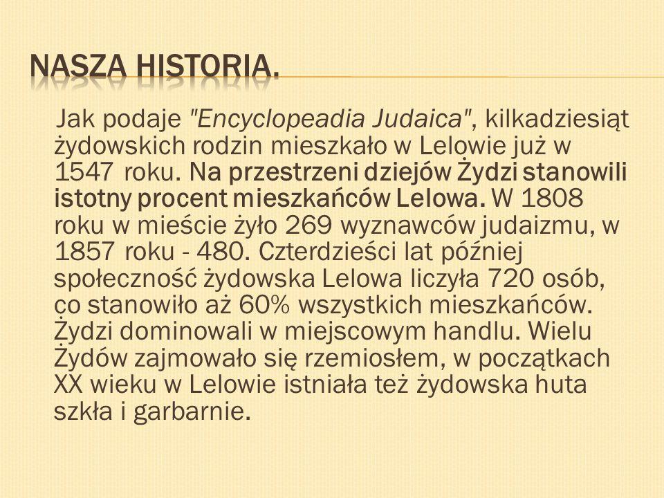 Jak podaje Encyclopeadia Judaica , kilkadziesiąt żydowskich rodzin mieszkało w Lelowie już w 1547 roku.